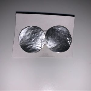 Silver hammered clip on earrings costume jewelry